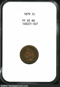 1879 1C PR65 Red and Brown NGC. Dark crimson and vibrant orange mottled patina attractively covers the surfaces of this...
