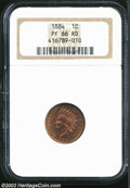 Proof Indian Cents: , 1884 1C PR66 Red NGC. Boldly struck with nice olive-tan ...