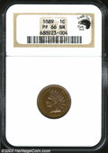Proof Indian Cents: , 1889 1C PR66 Brown NGC. Eagle Eye Photo Seal (card not ...