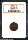 Proof Indian Cents: , 1898 1C PR66 Red and Brown NGC. Chestnut with vibrant ...