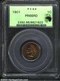 Proof Indian Cents: , 1901 1C PR66 Red PCGS. Eagle Eye Photo Seal. Superb olive-...