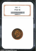Proof Indian Cents: , 1907 1C PR65 Red NGC. Streaky and dappled patina lies ...