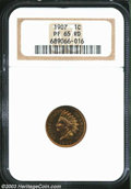 Proof Indian Cents: , 1907 1C PR65 Red NGC. Orange with flashes of tan and a ...