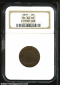 1871 2C MS63 Brown NGC. The deep chocolate-brown fields complement the lilac-tinged devices. Carefully preserved with a...