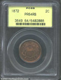 1872 2C PR64 Red and Brown PCGS. Reflective and well-struck, with a generally red obverse and a slightly more mellow rev...