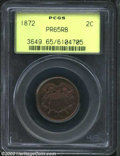 1872 2C PR65 Red and Brown PCGS. An exquisitely struck Gem with intermingled gold and lilac colors. A tiny toning spot a...
