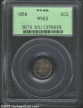 1858 3CS MS63 PCGS. The variegated tobacco-brown and mauve-gray patina is irrefutably original. The centers are well str...