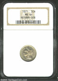1871 3CN MS64 NGC. A well struck and lustrous near-Gem with hints of rose and olive patina. The cheek has a few faint sl...