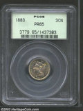 1883 3CN PR65 PCGS. Delicately toned in a pastel blend of yellow, lilac, and blue. Well-struck and reflective. From the...