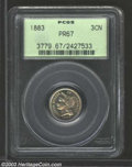 Proof Three Cent Nickels: , 1883 3CN PR67 PCGS. Streaks of golden-brown and lilac ...