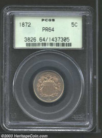 1872 5C PR64 PCGS. FS-7, Fletcher-8. The upper obverse is strongly die doubled, with the annulet serving as the pick-up...