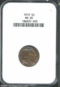 Buffalo Nickels: , 1919 5C MS65 NGC. Richly toned in concentric hues of ...
