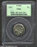 Proof Buffalo Nickels: , 1937 5C PR65 PCGS. Colorful alternating shades of red-...