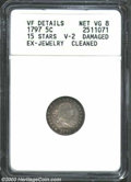 Early Half Dimes: , 1797 H10C 15 Stars--Ex-Jewelry, Cleaned--ANACS. VF Details, ...