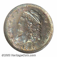 1837 H10C Large 5C MS63 NGC. V-1, LM-5, R.1. Aqua, gold, and lavender patina embraces this attractive example. Sharply s...