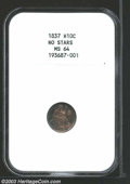 1837 H10C Large Date (Curl Top 1) MS64 NGC. MPD-1. The date is boldly repunched below the bases, and an errant 8 peers a...