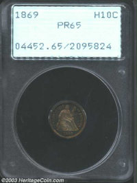 1869 H10C PR65 PCGS. Amazingly vivid orange and green colors with highly reflective, slightly hazy fields. No troublesom...