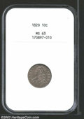 1820 10C Large 0 MS63 NGC. JR-11, R.3. Small C in denomination. Wide date with 20 larger than 18. Medium steel-blue, sea...