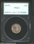 1832 10C MS62 PCGS. JR-2, R.2. A well struck example that has original golden-brown and lilac color. Lustrous with a wel...