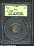 1837 10C Large Date MS62 PCGS. Well struck and satiny with various shades of gunmetal-gray patina. The obverse has a pai...