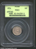 1854 10C Arrows MS63 PCGS. The luster is subtle but velvety on this lavender toned Choice dime. The strike is fully acce...