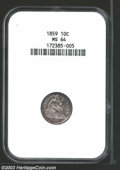 Seated Dimes: , 1859 10C MS64 NGC. Beautifully free of marks with a hint ...