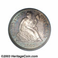 1860 10C PR65 PCGS. First year of issue for Longacre's redesign of Seated Liberty motif, mint records indicate that 1,00...