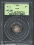Proof Seated Dimes: , 1874 10C Arrows PR64 PCGS. The obverse is extremely ...