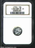 Proof Roosevelt Dimes: , 1955 10C PR68 Ultra Cameo NGC. Outstanding cameo contrast ...