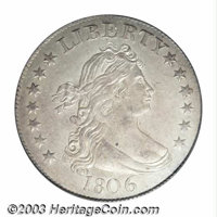 1806 25C MS61 PCGS. B-2b, R.4. The obverse is most readily attributed by the right foot of the I and left foot of the T...