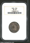 1834 25C MS63 NGC. B-1, R.1. No period follows 25 C. A late die state that has a curved die crack across the bust trunca...