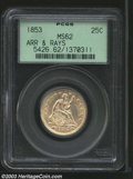 1853 25C Arrows and Rays MS62 PCGS. Both sides are toned an even blend of pink and gold and the luster, while a bit subd...
