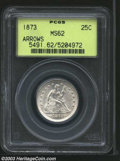 Seated Quarters: , 1873 25C Arrows MS62 PCGS. The 3 in the date is lightly ...
