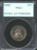 Proof Seated Quarters: , 1882 25C PR63 PCGS. Deeply reflective fields with ...