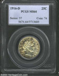 Barber Quarters: , 1916-D 25C MS64 PCGS. Blushes of honey-gold, steel-blue, ...
