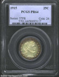 Proof Barber Quarters: , 1915 25C PR64 PCGS. Lovely pastel green-yellow colors, ...