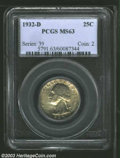 Washington Quarters: , 1932 25C MS66 PCGS. A fully original appearance is ...