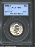 Washington Quarters: , 1935-D 25C MS66 PCGS. Well detailed with impeccable ...