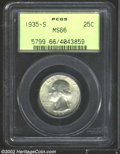 Washington Quarters: , 1935-S 25C MS66 PCGS. Mark-free and boldly defined, an ...