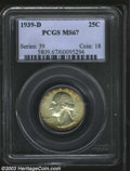 Washington Quarters: , 1939-D 25C MS67 PCGS. Frosty and lightly toned in shades ...