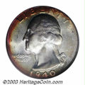 Washington Quarters: , 1940-D 25C MS67 PCGS. Highly lustrous and lightly toned ...