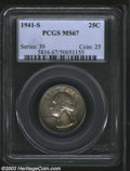 Washington Quarters: , 1941-S 25C MS67 PCGS. Attractively toned in hues of steel-...