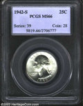 Washington Quarters: , 1942-S 25C MS66 PCGS. Fresh and fully bright with a crisp ...
