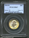 Washington Quarters: , 1943-D 25C MS67 PCGS. Colorfully toned with bright, ...
