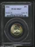 Washington Quarters: , 1944 25C MS67 PCGS. The satiny surfaces are lightly toned ...