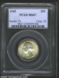 Washington Quarters: , 1945 25C MS67 PCGS. Attractive russet patina decorates ...
