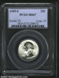 Washington Quarters: , 1945-S 25C MS67 PCGS. Fully brilliant with frosty white ...