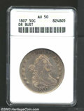 1807 50C Draped Bust AU50 ANACS. O-102, R.2. A boldly struck Draped Bust Half from the final year of the type. Liberty's...