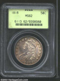 1818 50C MS62 PCGS. O-104a, R.3. The borders have blushes of golden-brown color, while the centers are untoned. A boldly...