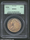 1834 50C Large Date, Small Letters MS63 PCGS. O-106, R.1. The 4 in the date is repunched and deeply engraved into the di...